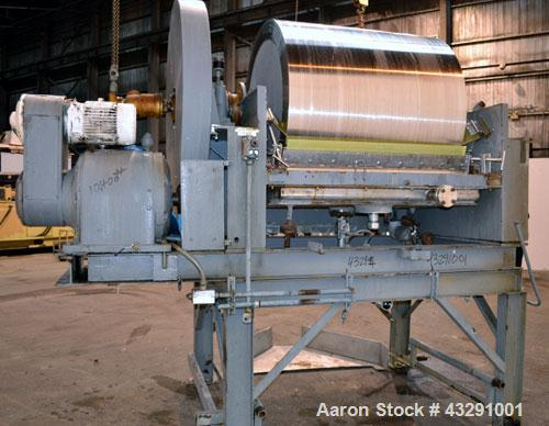 "Used- Buflovak Single Drum Flaker, 304 Stainless Steel. 48"" Diameter x 48"" face cored drum, 50 square foot area, rated 80 ps..."