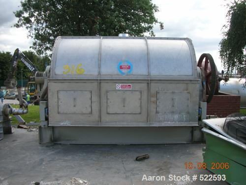 """USED: Simon single cylinder drum flaker. Material of construction isstainless steel on product contact parts. 58.5"""" diameter..."""