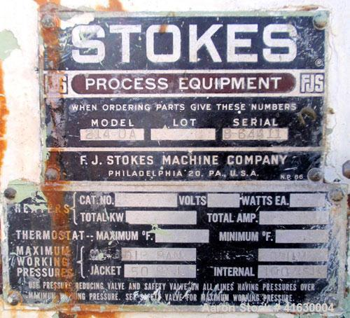 """Used- Stokes Double Drum Dryer, Model 214-0A. (2) 8-1/2"""" diameter x 11"""" face width cored drums with rotary unions, rated 100..."""