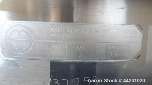 """Used- Marriott Walker Flash Cooler, 316 Stainless Steel, Vertical. Approximate 48"""" diameter x 56"""" straight side top section ..."""