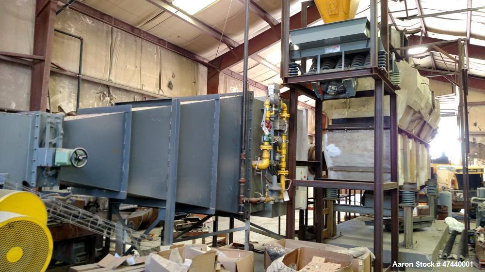 Used- Fluid-Bed Dryer, 7 wide x 12 high x 30 long. Carbon steel, gas fired.