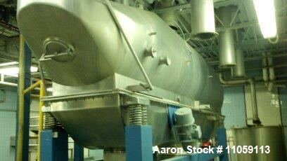 "Used- Anhydro Fluid Bed Dryer. 24"" x 16'6"" long, stainless steel. .6kw shaker motor, 3 pressure fans, heat sources, rotary v..."