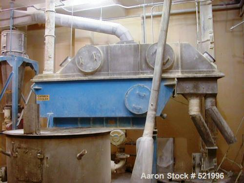 "USED: Carmen continuous fluid bed cooler, model FBP-100. Stainlesssteel bed measures 72"" wide x 126"" long. New in 1991."