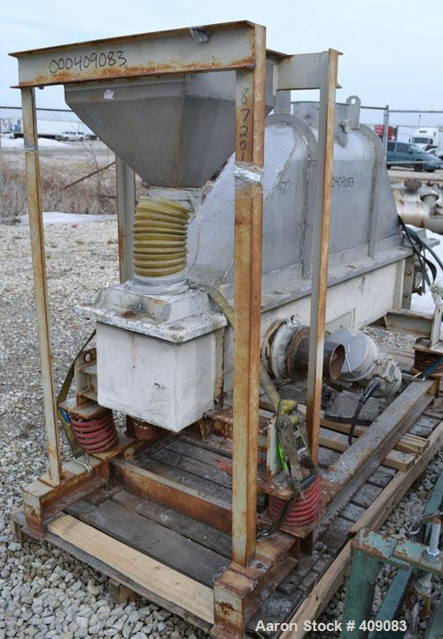 "Used- Carrier Vibratory Continuous Fluid Bed Dryer, Model FTAD1240S14GA, 304 stainless steel.  Approximately 10"" wide x 90"" ..."
