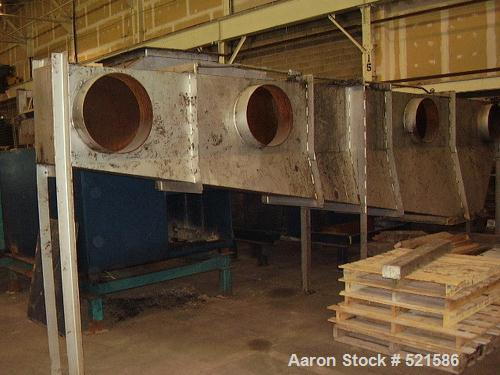 """USED: Carrier vibrating fluidized bed dryer, model QAD 72170S, 5'6"""" wide x 29'4"""" long, stainless steel."""