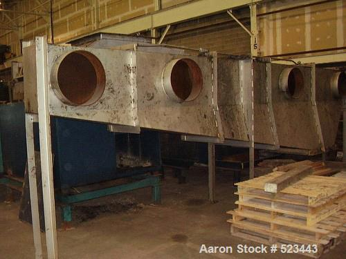 """USED: Carrier vibrating fluidized bed dryer, model QAD 72120S, 5'6"""" wide x 29'4"""" long, stainless steel."""