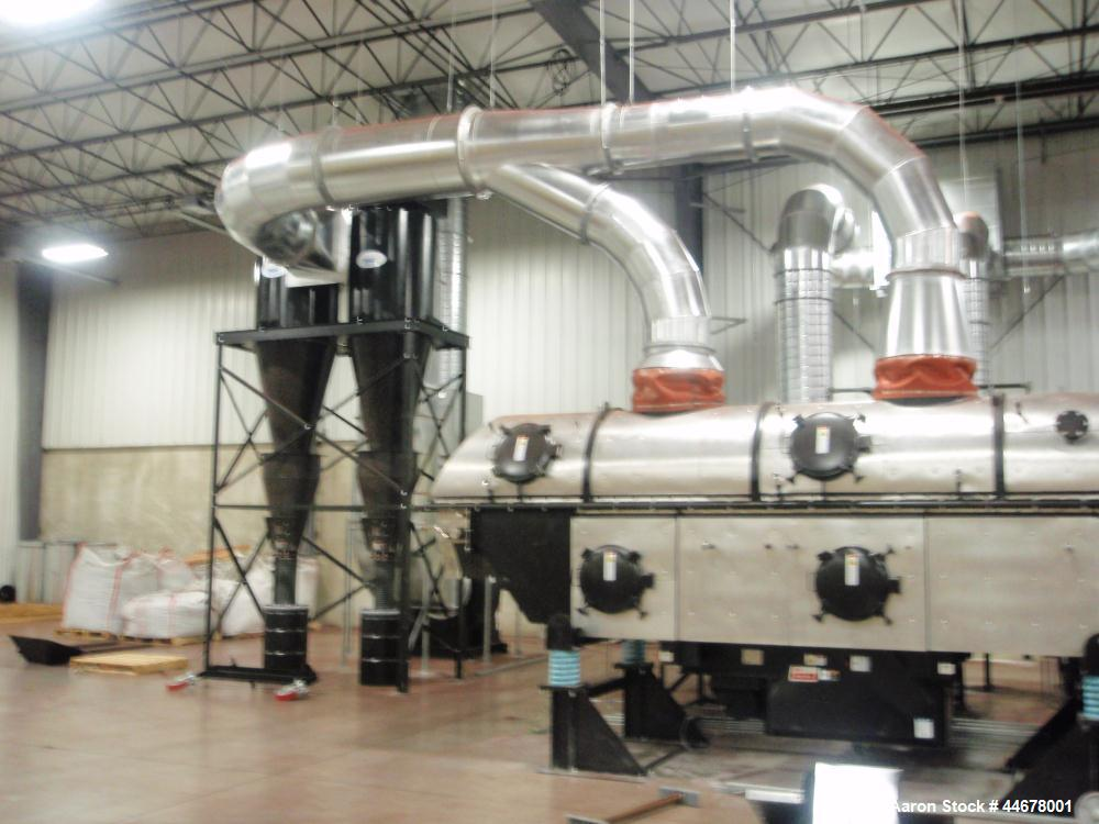 "Used-Carrier Vibrating Fluid Bed Dryer.  Approximately 3'6"" wide x 20' long.  304 Stainless steel bed.  7.5 Hp vibratory mot..."
