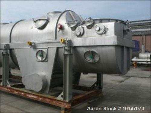 Used-GEA Niro VF-F-EX Continuous Fluid Bed Dryer, 304 stainless steel. Component and surface size 134.6 square feet (12.5 m2...