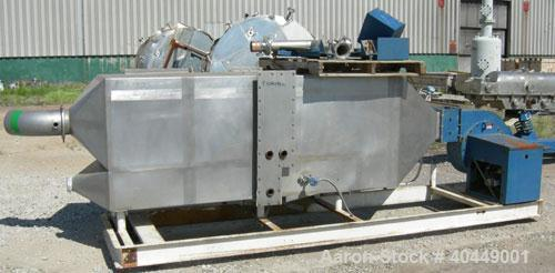 """Used- Kinergy continuous fluid bed dryer, model KDFBC-12-SD. 304 stainless steel. 12"""" wide x 171"""" long perforated pan, bolt ..."""