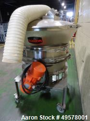 "Used- Kason model K30/40-1FBD-SS Circular Fluid Bed Drying System. 30"" diameter. Elec: 3/60/575V. 304 stainless steel."