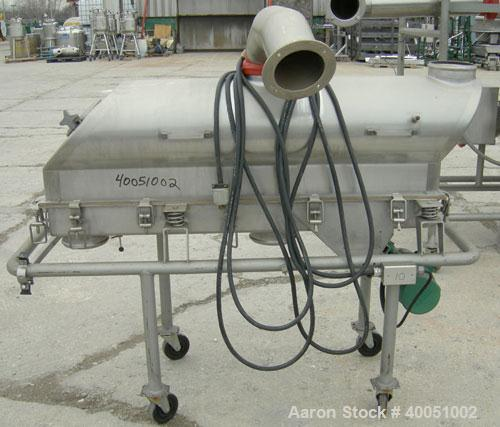 """Used: Niro Continuous vibratory Fluid Bed Dryer, model VB03,316 stainless steel. Bottom perforated plate 10"""" wide x 51"""" long..."""