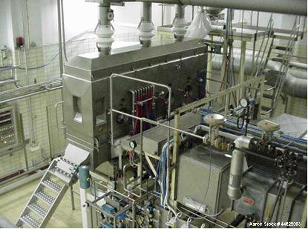 Used- Lab Size Pluto Agglomerator and Dryer, stainless steel 321 (1.4541) on product contact parts.  Comprised of one dosing...