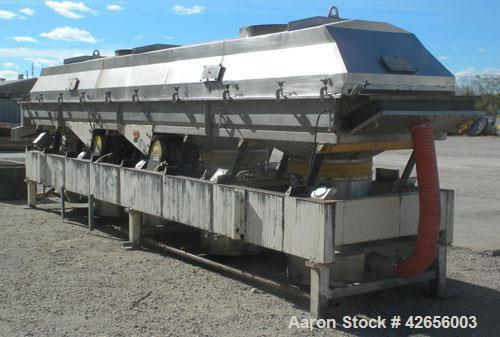 """Used- Witte Vibratory Continuous Fluid Bed Dryer, 304 Stainless Steel. Approximate 288"""" long x 46-1/2"""" wide screen section. ..."""