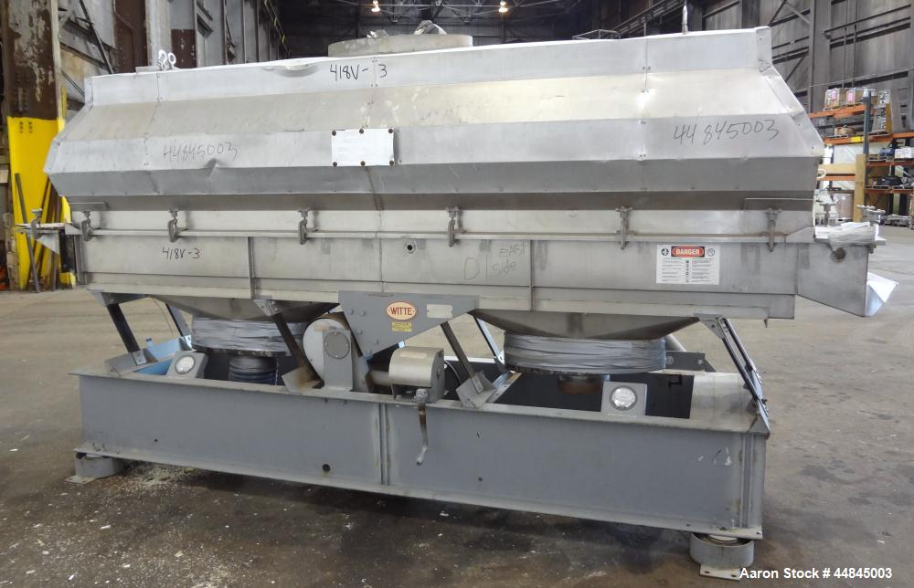"Used- Witte Vibrating Fluid Bed Dryer, 304 Stainless Steel, 144"" long x 24"" wide bed with slotted screen. Clamp on top cover..."