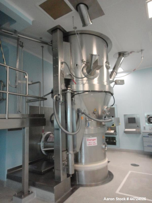 Used-Glatt model WST500 stainless steel fluid bed dryer. Approximate total volume 12.5cumt, approximate container volume 1,5...