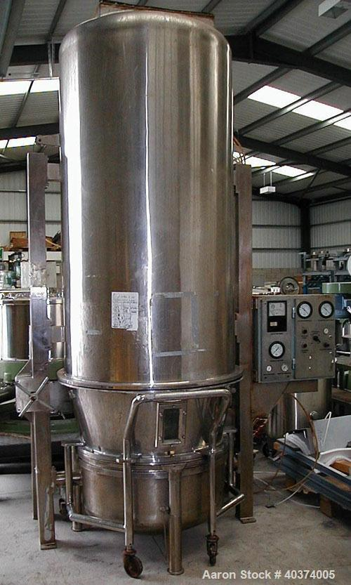 Used-Calmic Euro-Vent model 100 316 grade stainless steel batch fluid bed dryer. Nominal batch loading 100kg (220 pounds). O...