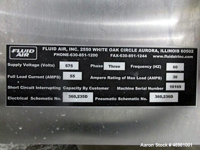 Used- Fluid Air Fluid Bed Dryer Granulator, Model 0020. 316 Stainless steel product contact parts, currently set up with dry...