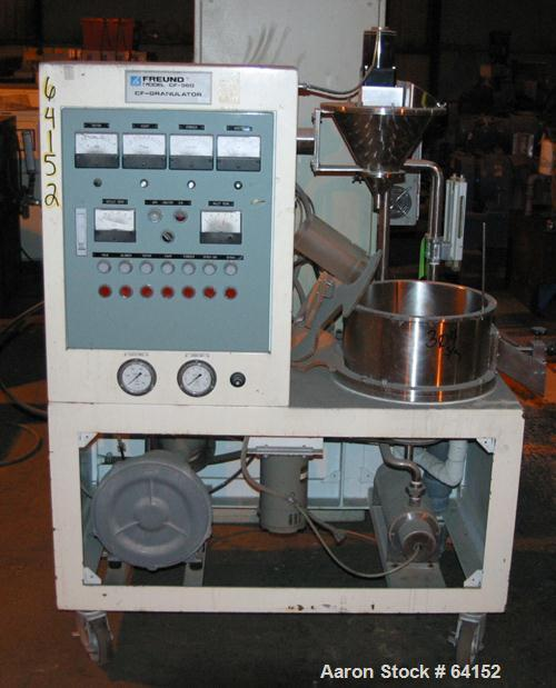 Used- Stainless Steel Freund Centrifugal Fluidizing Coating Granulator, Model CF