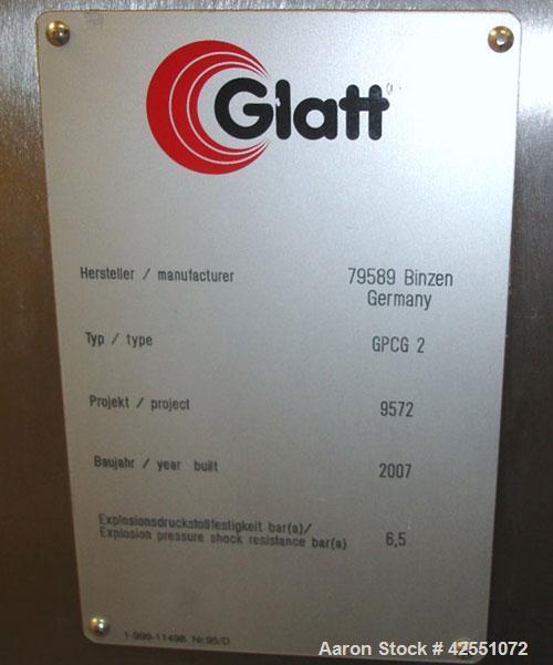 Used- Glatt Fluid Bed Dryer, Model GPCG 2, Stainless Steel. 6.5 Bar internal shock rating, (2) spray granulation inserts, (1...