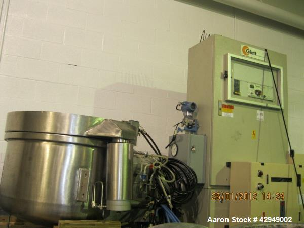 Used- Glatt Fluid Bed Dryer, Model GPCG 60, Stainless Steel. Spray granulation chamber with 2 bowls, top vented, control pan...