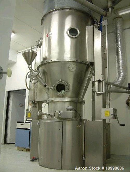 Used-Glatt Model GRG30 Batch Style Fluid Bed Dryer / Granulator System consisting of main tower assembly, air discharge bag ...