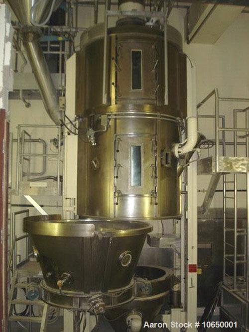 Used-Glatt 1560 Liter (500 kg) Top Spray Fluid Bed Granulator, model WSG-500. Original pneumatic controls upgraded to electr...