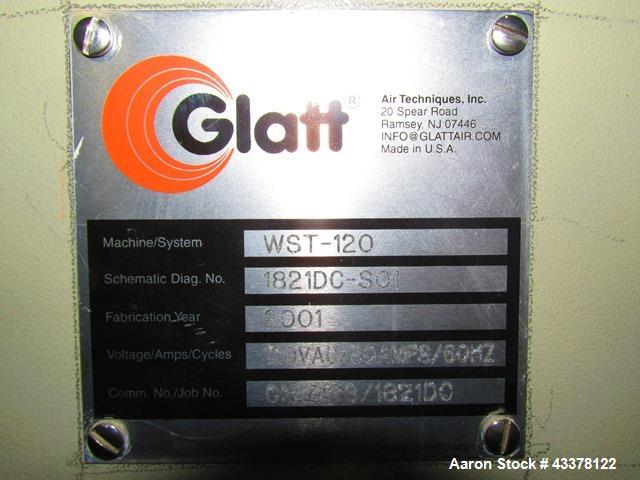 Used- Glatt WST 120 Fluid Bed Dryer. Stainless steel construction, 2 bar shock rated, with two (2) 420 liter bowls on stainl...