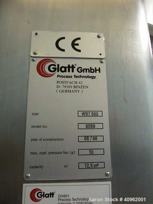 Used- Glatt Fluid Bed Dryer, Model WST/G 500. 316L Stainless steel product contact surfaces, 304 stainless steel non-product...
