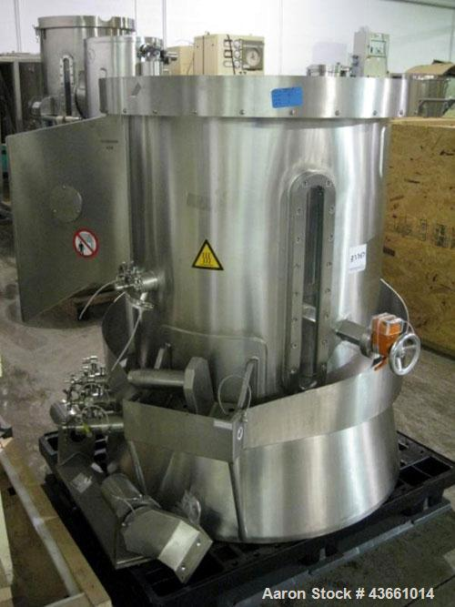 "Used- Glatt Wurster insert, 18"" diameter with three spray guns. PRICE INCLUDES A 15% BUYERS PREMIUM. AS IS WHERE IS, LOADING..."