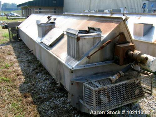 """Used-18"""" Diameter X 21' Long Thermo Twin Screw Cooker/Mixer, 304 Stainless Steel, Food Grade. 5,500 lb working capacity. ¼"""" ..."""