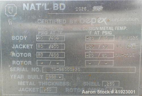 Used- Hosokawa Bepex Torus Disc Dryer, Model TDJS-12-4, 316L Stainless Steel. Approximately 5.2 cubic feet working capacity....