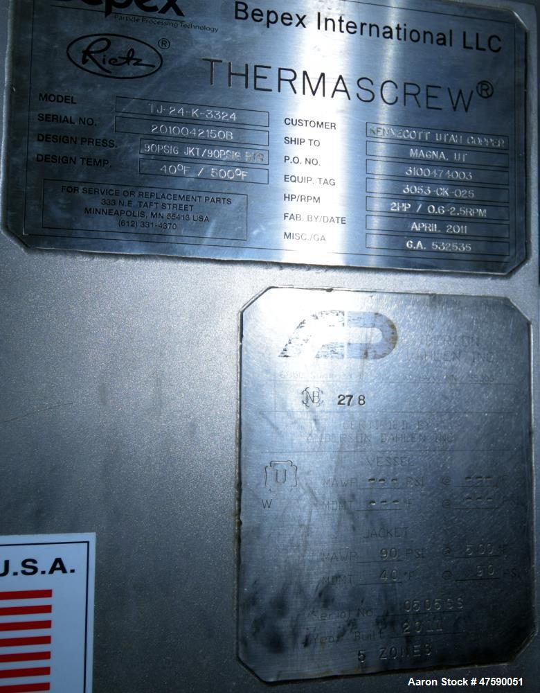 Unused- Bepex Rietz Thermascrew Processor, Model TJ-24-K3324.