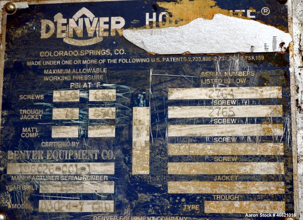 Used- Denver Equipment Twin Screw Holo-Flite Processor