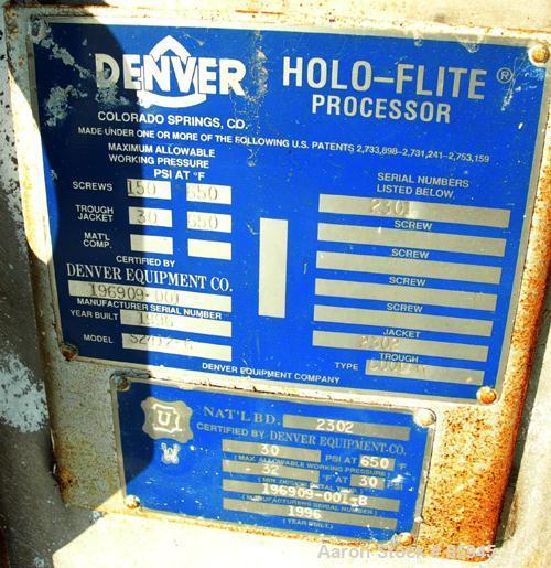 "USED: Denver single screw Holo-Flite processor, model S2412-6. 304 stainless steel. (1) 24"" diameter x 12' long x 6"" pitch c..."