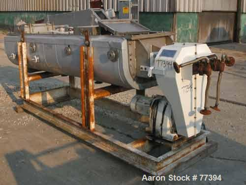 "USED:GMF Nara paddle dryer, 304 stainless steel. 23-1/2"" wide x 114"" long x 18"" deep jacketed trough. 2 approx 8"" diameter 3..."