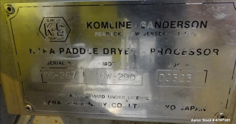 Used- Komline-Sanderson Nara Paddle Dryer-Processor, Model 6W-250.