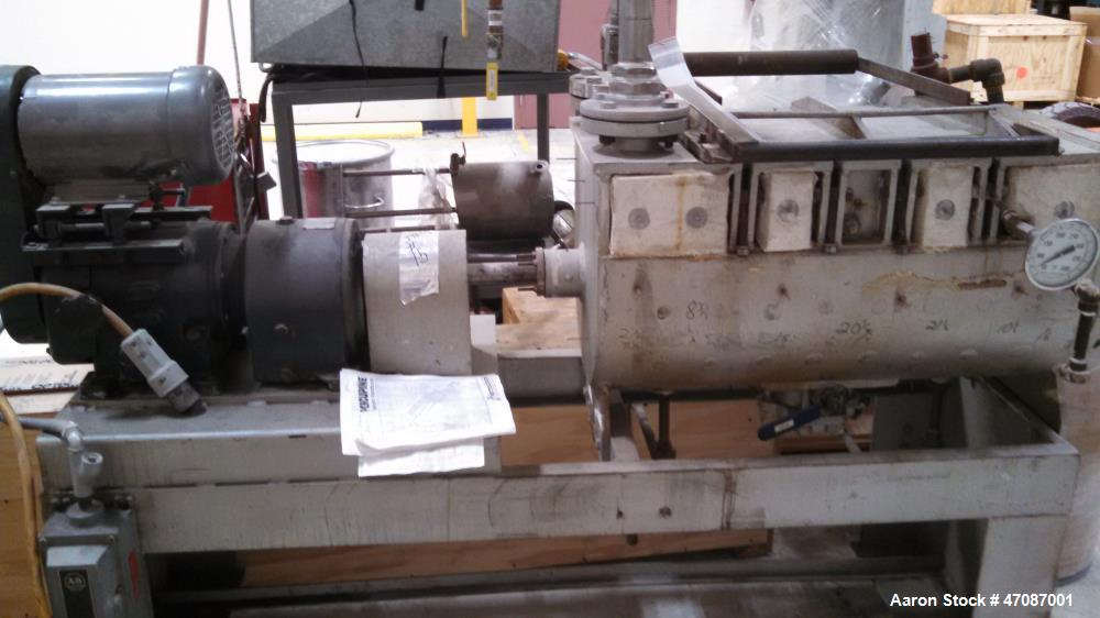 "Used- Porcupine Processor, 12"" Diameter x 3' Long Shaft. 12.2 Surface square foot.; 5.9 Jacket square foot. Trough; 316 stai..."