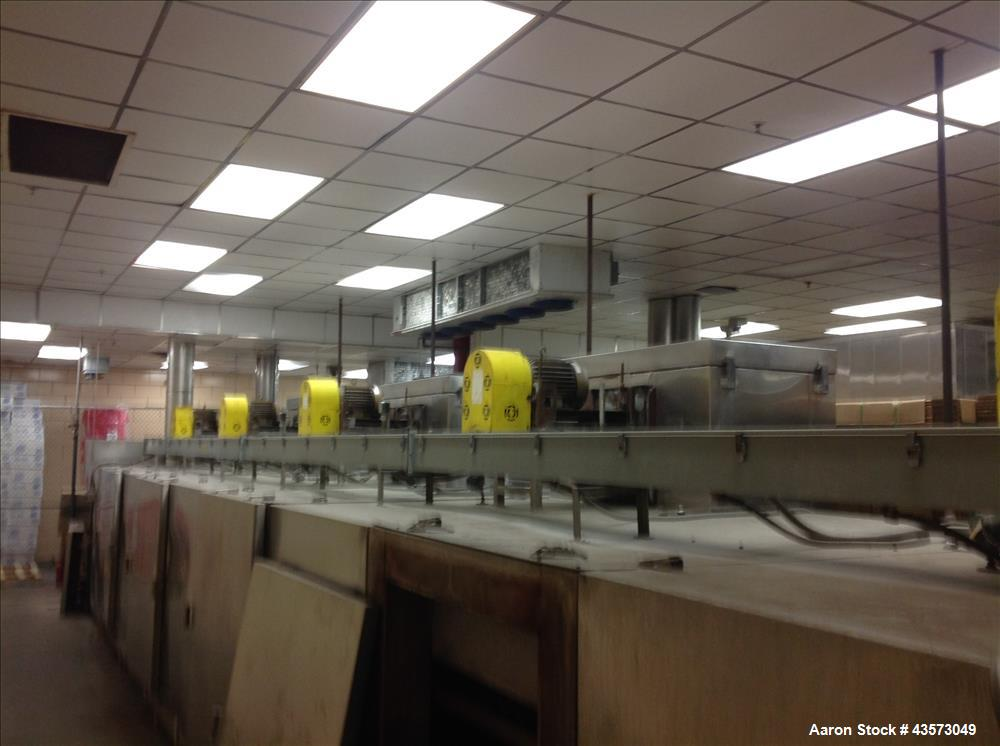 """Used- Dok impingement oven with 40""""w granite brick conveyor. Has 4 zones each with 750,000 eclipse burners. Has approximate ..."""