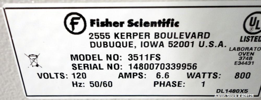 """Used- Fisher Scientific Oven, Model 3511FS, Stainless Steel. Chamber 1.7 cubic feet, approximate 16"""" long x 16"""" wide x 12"""" d..."""
