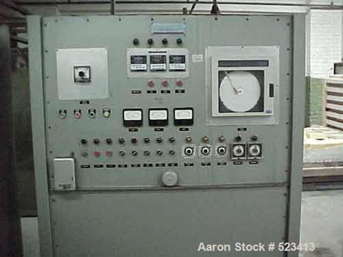 USED: Huppert shuttle car kiln size 5-1/2' x 12' x 6', 240 volt, 3 phase, 150 kw, 18' chain drive. Rail units will heat to 2...