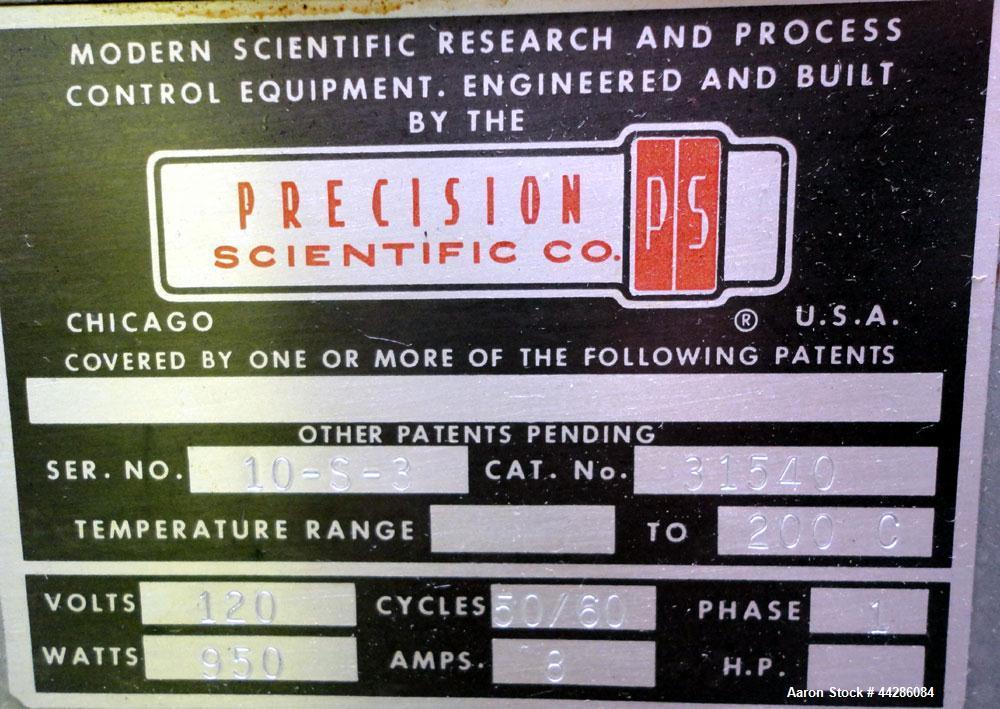 "Used- Precision Scientific Thelco Oven, Model 26. Temperature range to 200 degrees C. (392 F). Interior approximate 13"" wide..."