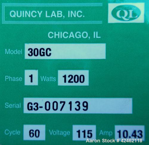 Used- Quincy GC Series Lab Oven, Model 30GC, Carbon Steel. Temerature range 450 deg.f. (232 c). 1/60/115 volt, 1200 watts. C...