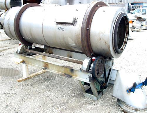 "USED: Conditioning Cylinder, 304 stainless steel. 30"" diameter x 8' long tube with internal pins. Feed chute, end discharge ..."