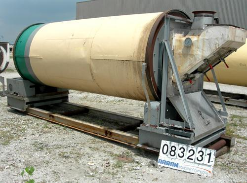 "Used- Rotary Air Dryer, 304 Stainless Steel. Horizontal insulated tube 60"" diameter x 156"" long, end feed and discharge. 5"" ..."