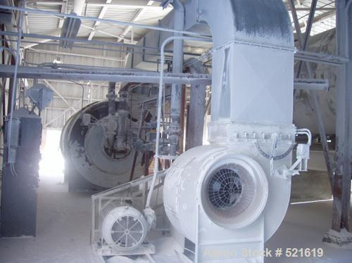 """USED: FMC Linkbelt """"Rotolouver"""" dryer, model 900-32. 9' diameter x 32'. 20mm btu combustor. Complete with a Carter Day HV90 ..."""