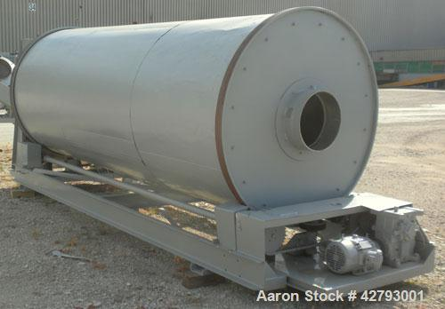 """Used- Rotary Hot Air Dryer, 304 Stainless Steel. 60"""" Diameter x 156"""" long horizontal insulated tube, end feed and discharge...."""
