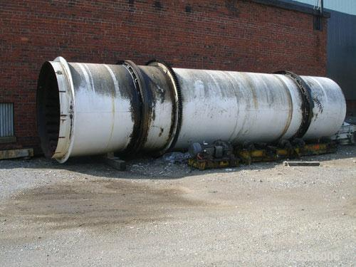 Used- Standard Steel Hot Air Rotary Dryer. Approximately 8' diameter x 30' long, carbon steel. Internal flights with steam h...