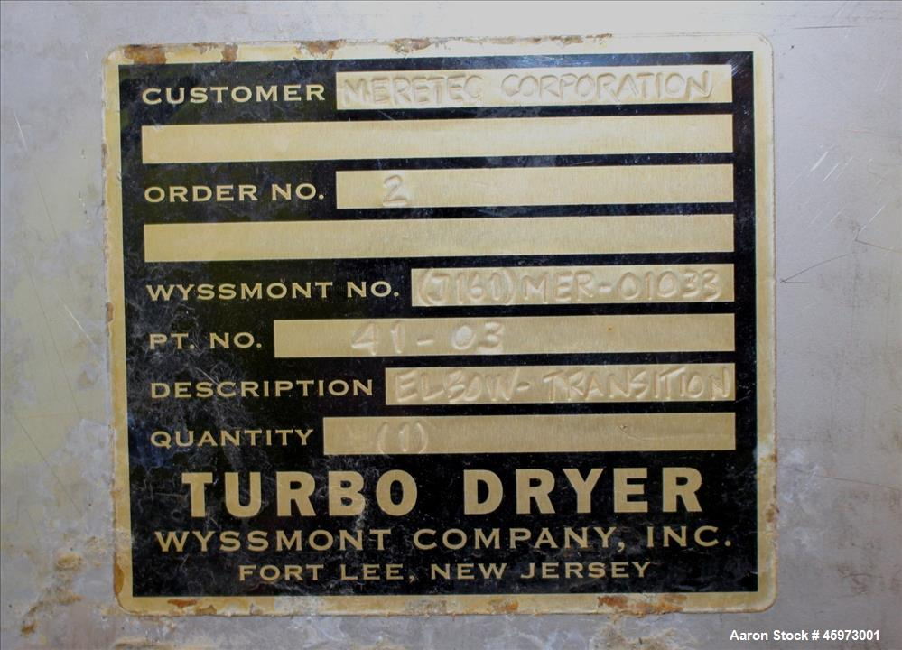 Used- Wyssmont Turbo-Dryer, Model L-18, 304 Stainless Steel