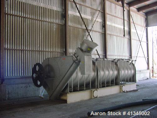Used-Bepex Thermascrew Dryer, Model TL-60. 90 Cubic feet, indirect heat, hollow screw, jacketed body trough, 2 hp TEFC, 3 ph...