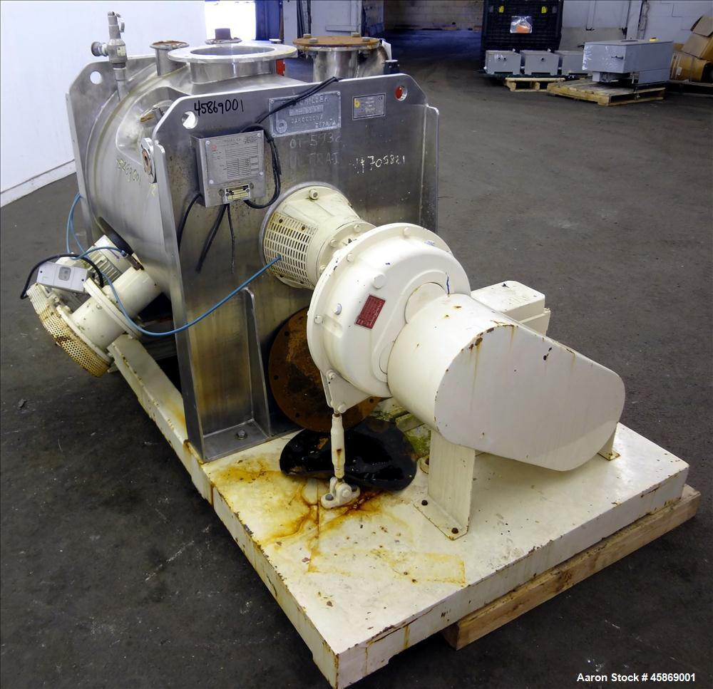 Used- E. Bachiller Plow Mixer Dryer, 10.6 Cubic Feet (300 Liter), Model MMT 300, 304 Stainless Steel. Jacketed mixing chambe...